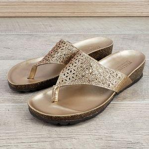 Italian Shoemakers Women's Gold Wedge Sandals